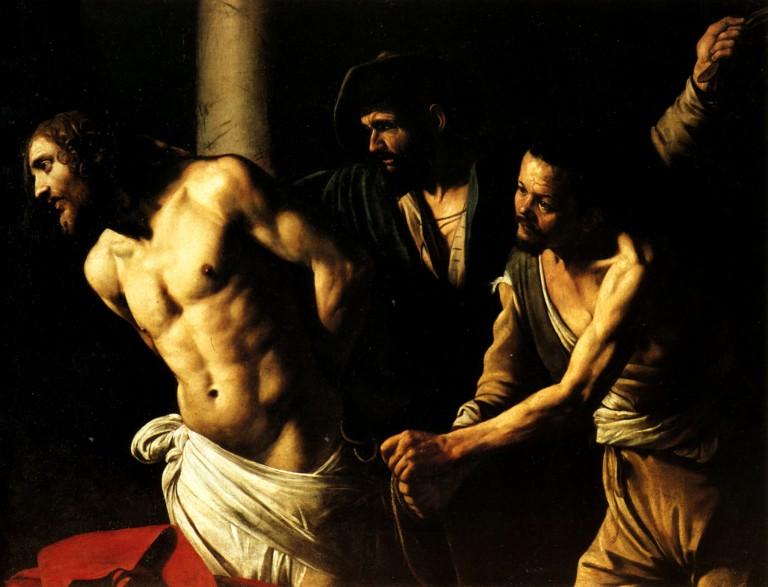 """""""La Flagellazione di Cristo"""", de Caravaggio, versão de 1606/1607."""