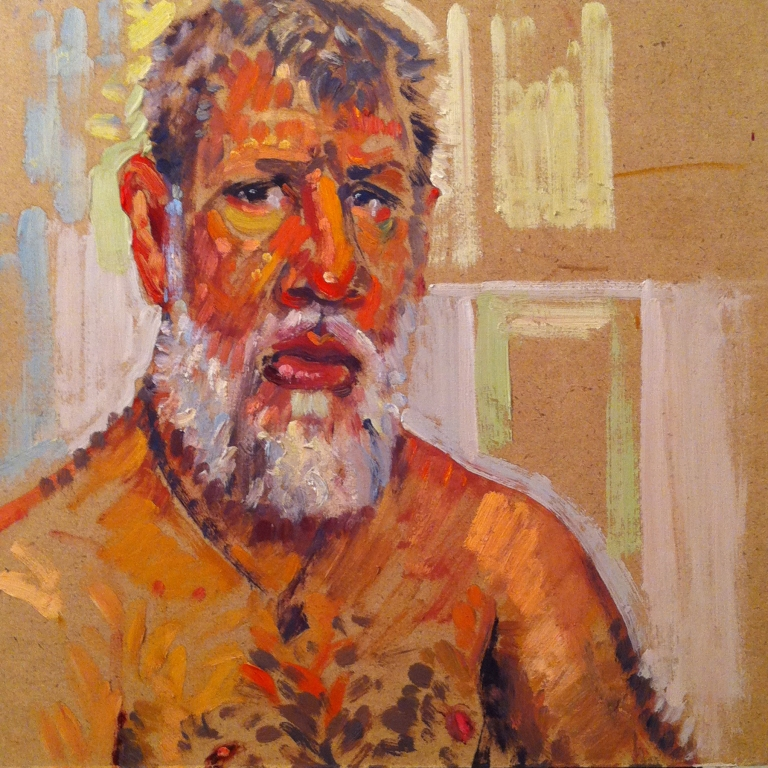 Self in Bathroom Mirror - 30 min oil color sketch | Boston | Matthew Ivan Cherry