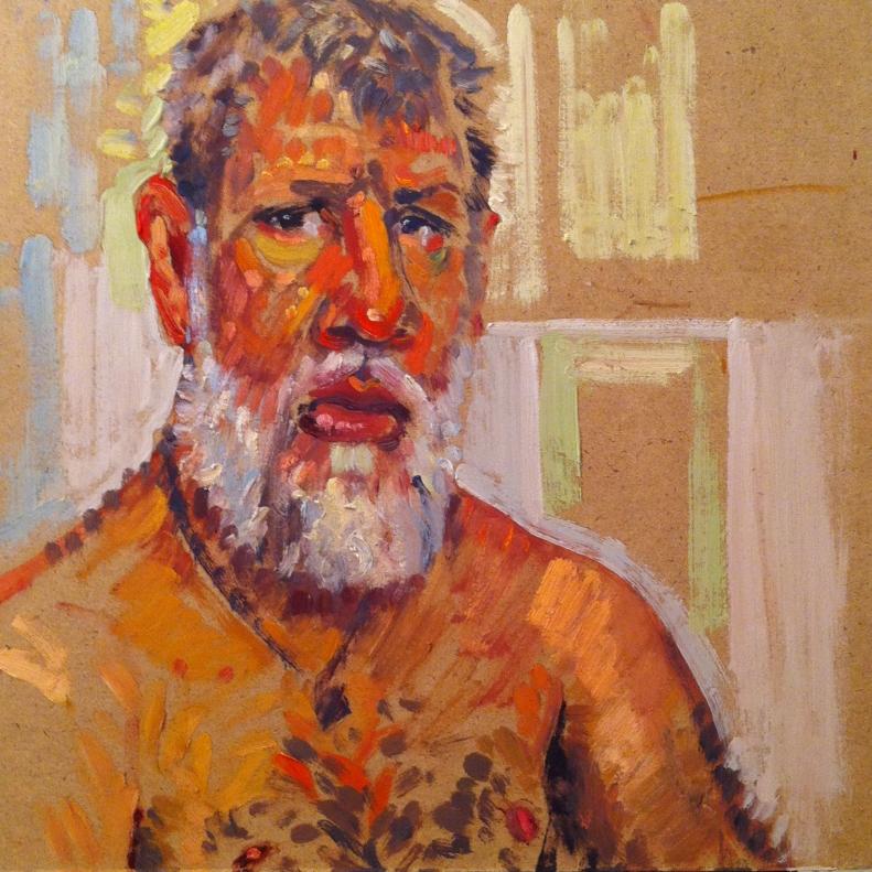 Self in Bathroom Mirror - 30 min oil color sketch | Boston | Matthew Ivan Cherry